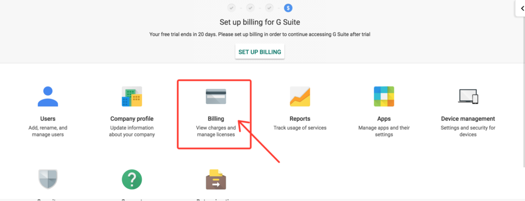 Go to G Suite billing section
