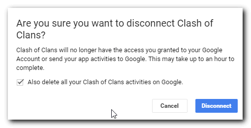 how to delete clash of clans account from google play