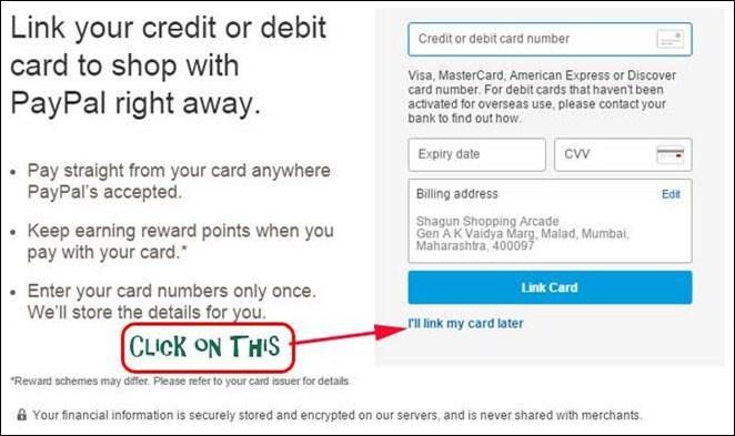 paypal credit card link