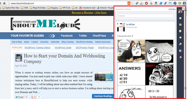 Facebook extension Google Chrome