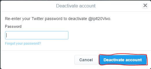 delete twitter account permanently by entering password