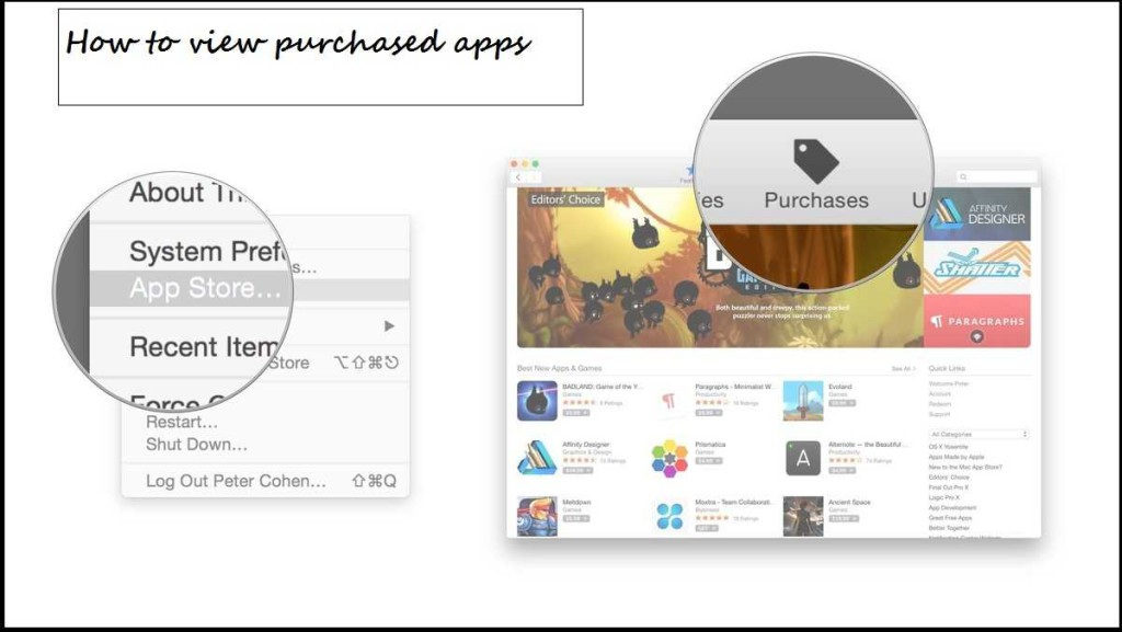 view purchased apps in mac
