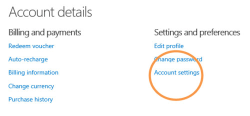 click on account settings